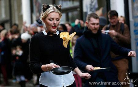 مسابقه بسیار جالب درست کردن نان در حین دویدن (عکس)