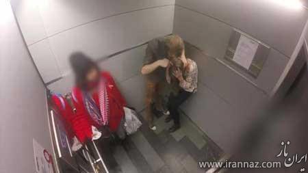 تعرض مردی شرور به یک زن در آسانسور (عکس)