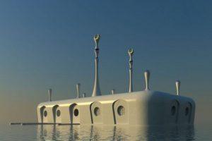 ساخت مسجد شناور عجیب و دیدنی بر روی دریا (عکس)