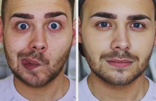 عکس های جالب از قیافه مردها قبل و بعد از آرایش