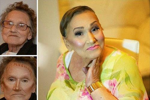 سوژه شدن آرایش مادربزرگ 80 ساله (عکس)