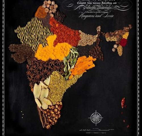 عکس هایی از ساخت نقشه کشورها با مواد خوردنی