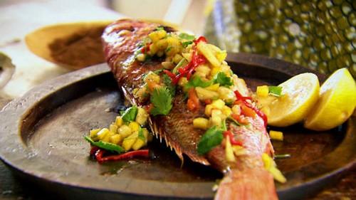 طرز تهیه ماهی با سبزیجات خوشمزه