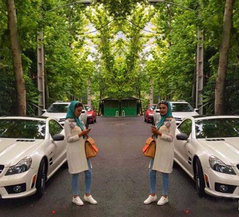 خانم بازیگر 30 ساله در کنار ماشین گرانقیمتش