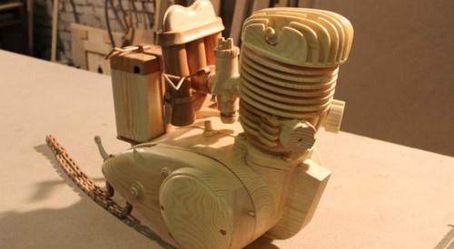عکس های باورنکردنی از ساخت موتور سیکلتی از جنس چوب