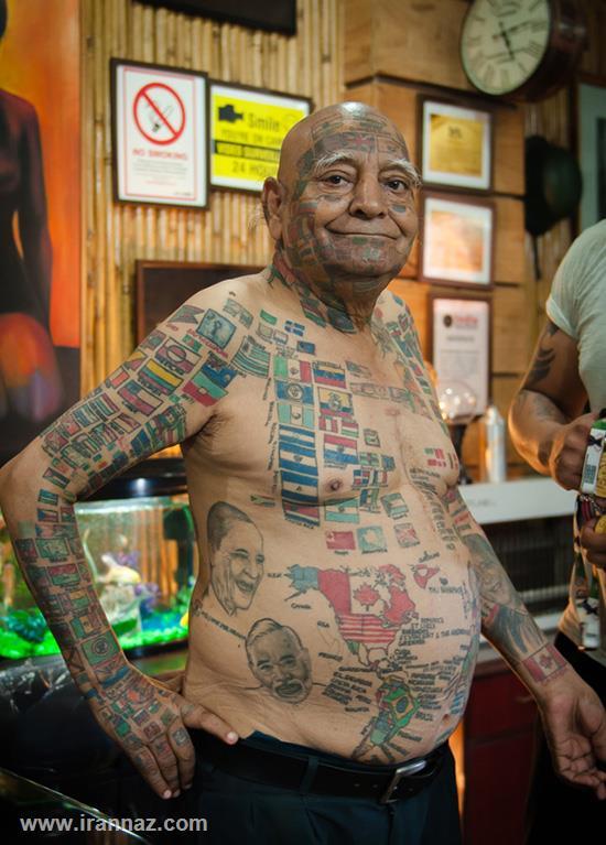 خالکوبیهای عجیب پیرمردی که به رکورد گینس اعتیاد دارد +تصاویر