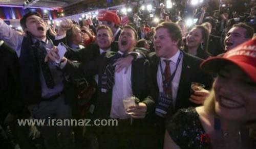 تصاویر گریه طرفداران کلینتون و شادی طرفداران ترامپ