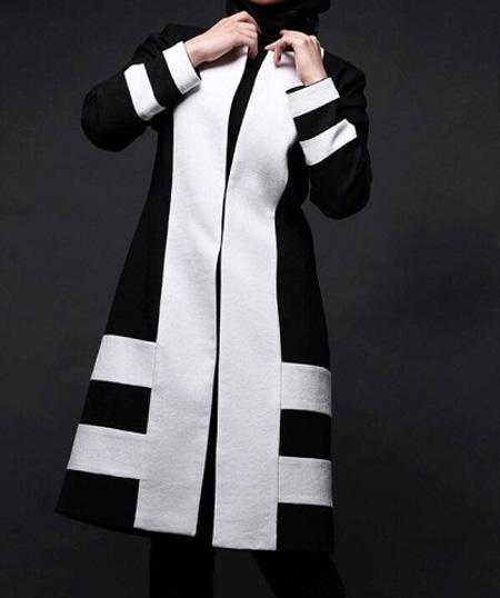 زیباترین مدلهای مانتو سفید و مشکی