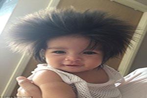 دختر 21 ماهه صاحب پرپشت ترین موی دنیا +تصاویر