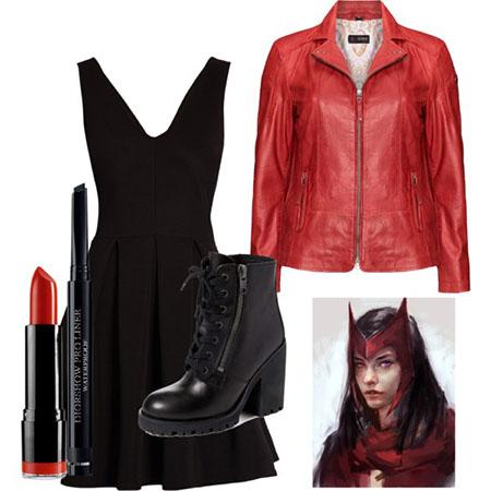 ست لباسهای زمستانه و پاییزی قرمز و مشکی