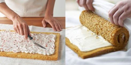 آموزش تصویری روش رولت کردن انواع دسر و غذا