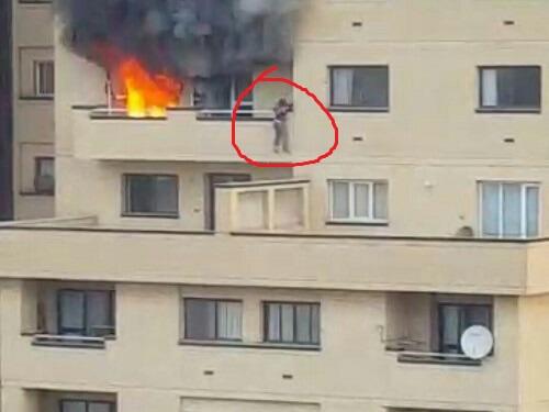 فیلم پرتاب زن از بالکن در آتش سوزی برجی در مشهد +تصاویر