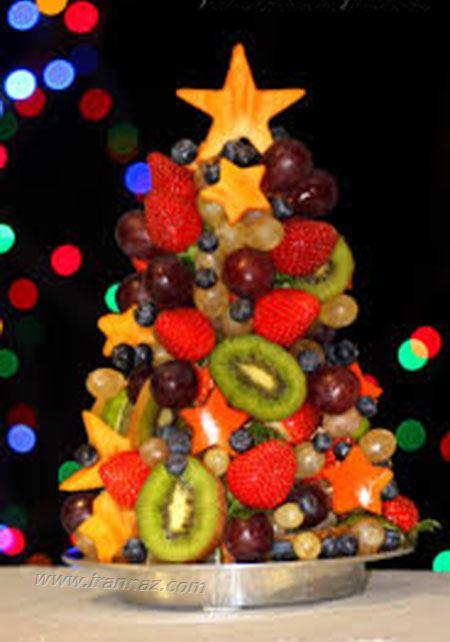 میوه آرایی به شکل بابا نوئل و درخت کریسمس