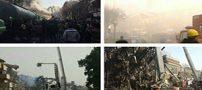تصاویر گریه آتش نشانها به زیر آوار ماندن همکاران در پلاسکو