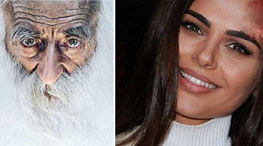 کار دیدنی دختر زیبای مدل با پیرمرد + تصاویر