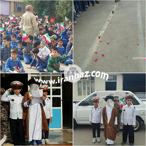 عکس کار جالب مراسم نمادین ورود امام خمینی در مدرسه