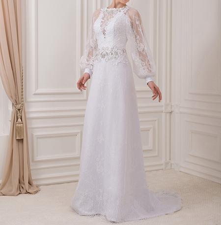 زیباترین مدلهای لباس عروس آستین دار (تصاویر)