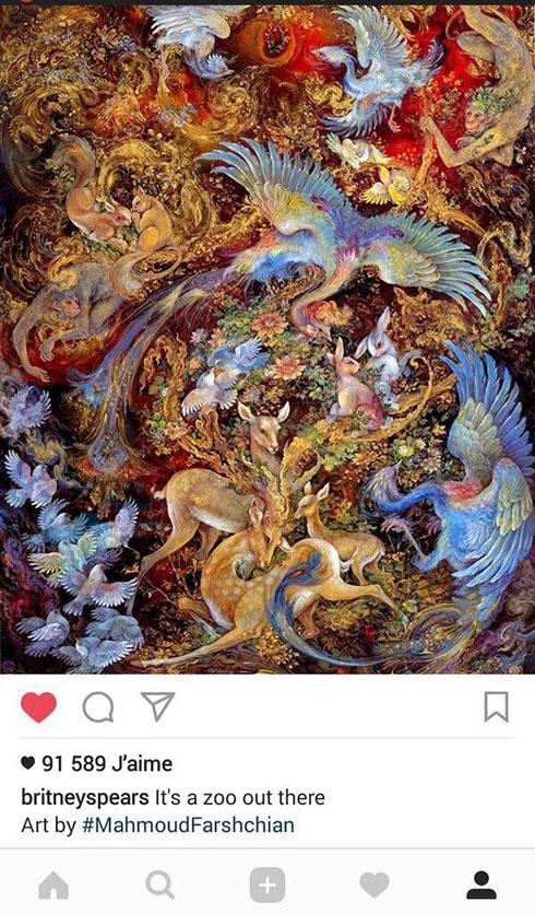 علاقه بریتنی اسپیرز به نقاشی استاد فرشچیان (عکس)
