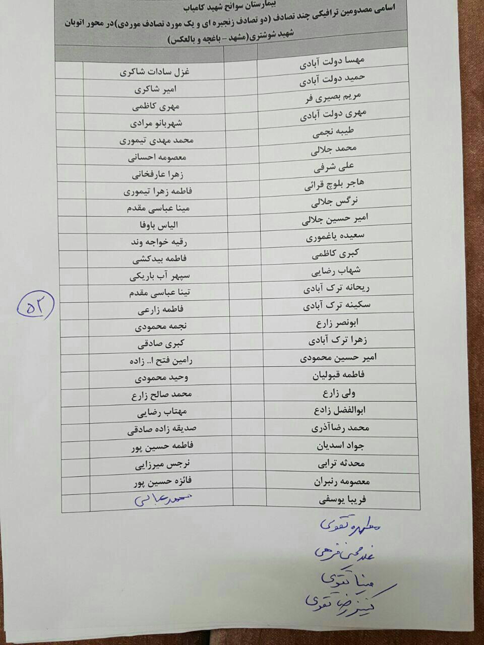 فیلم و تصاویر تصادف زنجیره ای مشهد و اسامی مجروحین