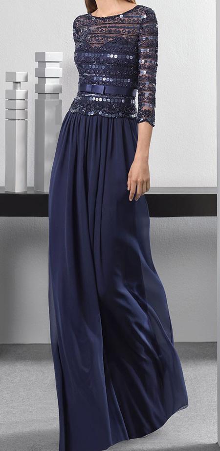 مدلهای شیک لباس مجلسی پوشیده سورمه ای (تصاویر)