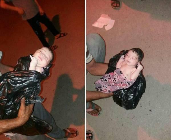 پیدا شدن یک نوزاد در سطل زباله در اهواز (عکس)