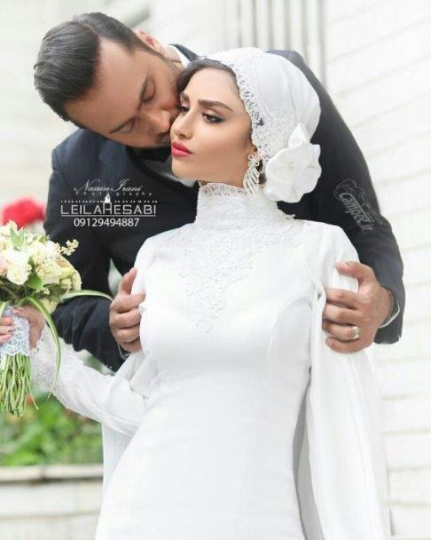 بوسه عاشقانه هانیه غلامی به داماد در آغوش وی (عکس)