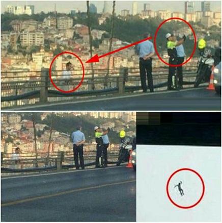 سلفی مامور پلیس با مردی در حال خودکشی  (عکس)