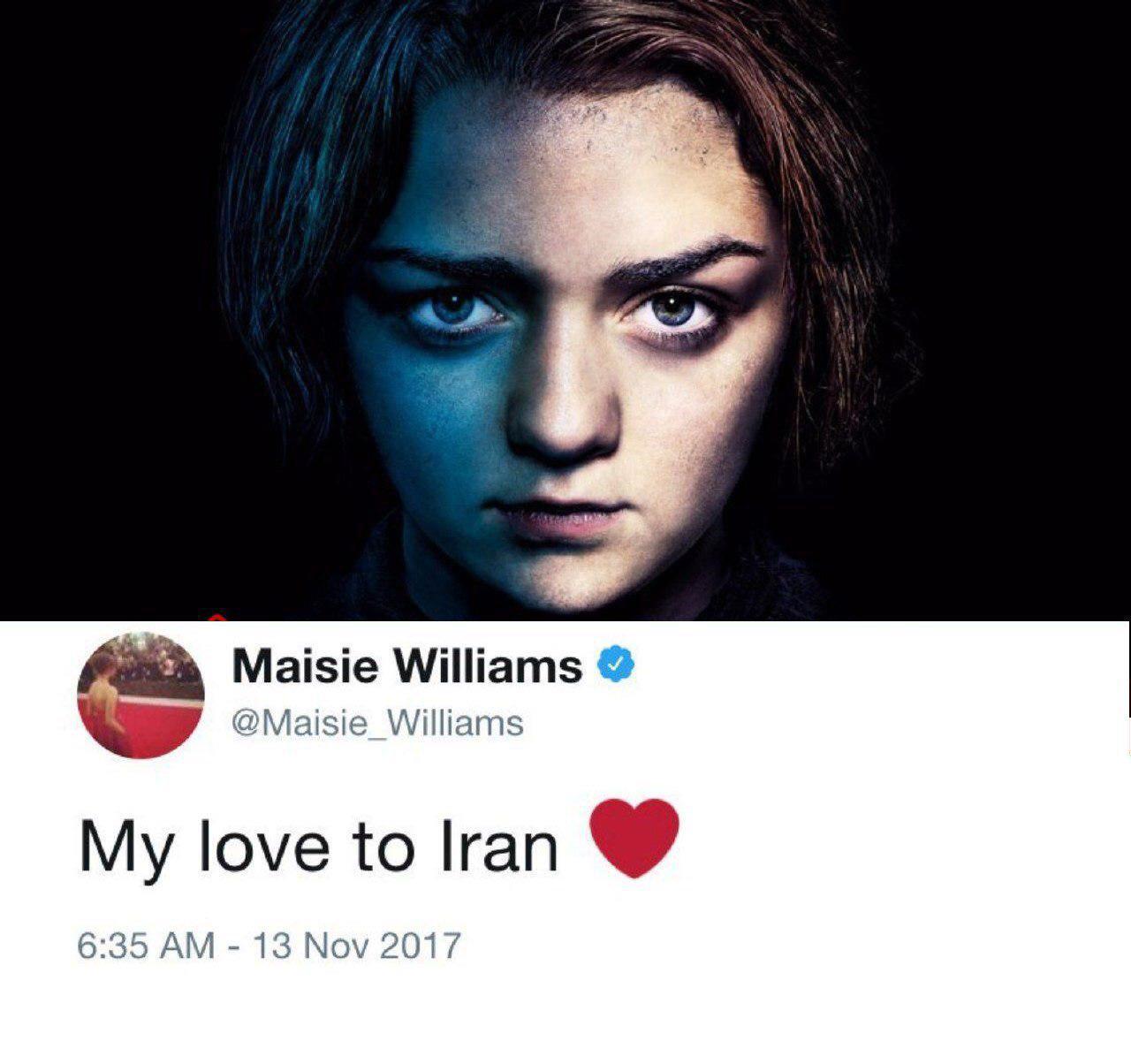 همدردی بازیگر گیم آف ترونز با زلزله زدگان ایران.