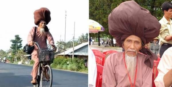 پیرمردی با موهای بلندش رکورد زد (عکس)