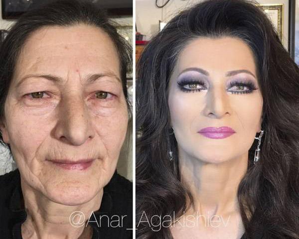 جادوی آرایش برای این پیرزن 80 ساله