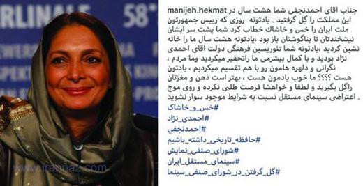 واکنش جنجالی کارگردان زن به گل مالی احمد نجفی (عکس)
