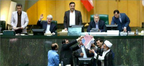 جزئیات و تصاویر آتش زدن برجام و پرچم آمریکا در مجلس