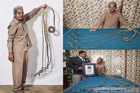 ناخن های دو متری این مرد رکورد گینس را شکست (عکس)