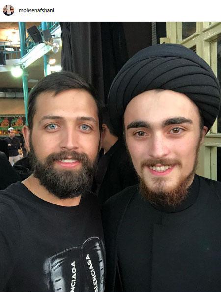 عزاداری سید احمد خمینی در کنار محسن افشانی (عکس)