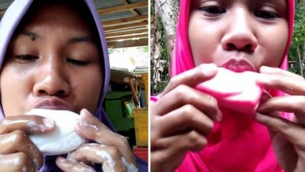 اعتیاد عجیب این زن جوان به خوردن صابون (عکس)