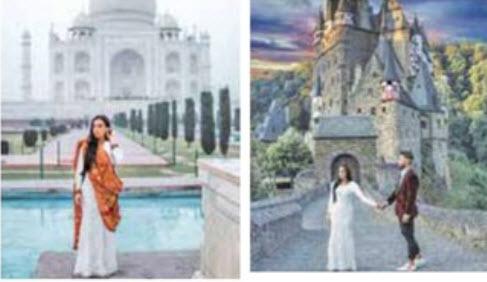 سفر عجیب این عروس به دور دنیا با لباس عروسش (عکس)