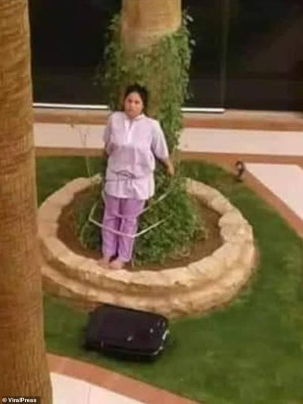 تنبیه بیشرمانه این زن خدمتکار توسط کارفرمایش (عکس)