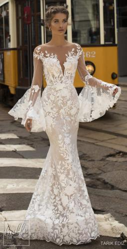 مدل لباس عروس دکلته و دانتل 2019
