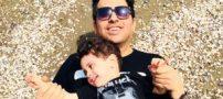 عکس عاشقانه حمید عسگری با همسر و فرزندش