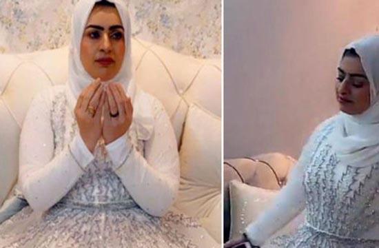 زن معروف اینستاگرام با لباس عروس جشن طلاق گرفت (عکس)