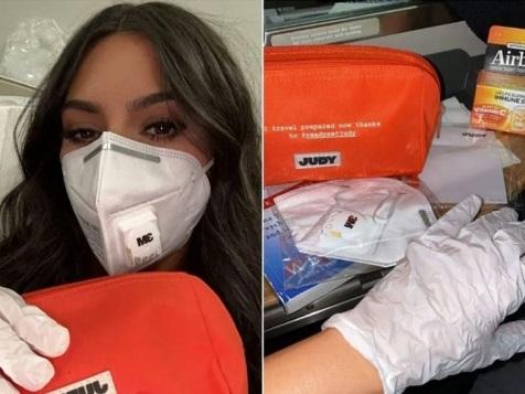 کیم کارداشیان با ماسک و وسایل ضد کرونا (عکس)