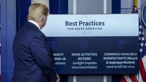 توصیه خنده دار ترامپ برای مقابله با کرونا ( فیلم )