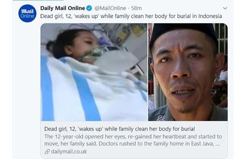دختر 12 ساله بعد از مرگ زنده شد (عکس)