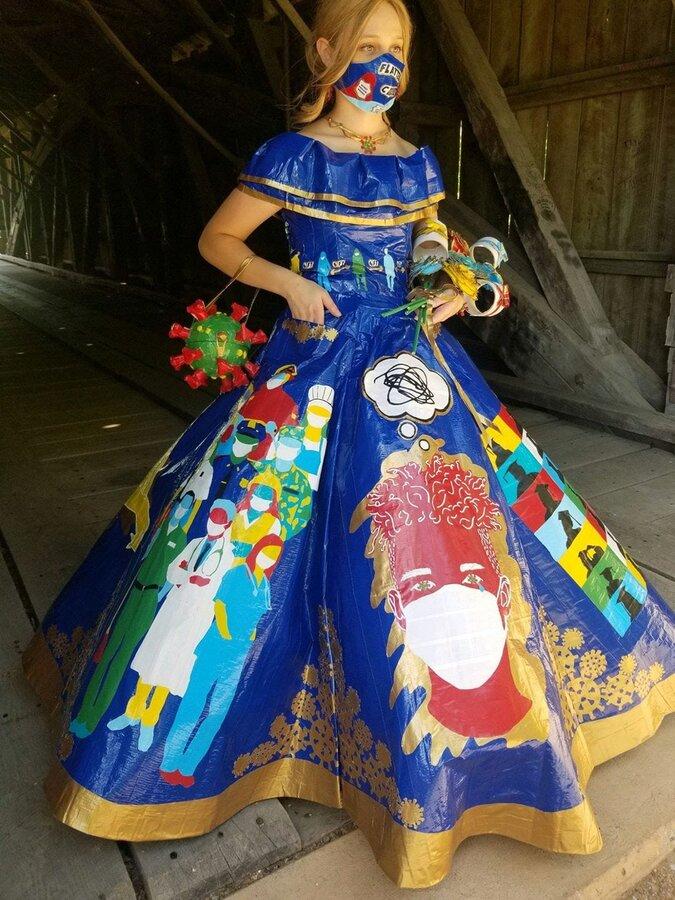 طراحی زیباترین لباس کرونایی ( عکس )