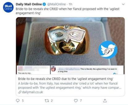 زشت ترین حلقه ازدواج جهان که دل عروس را شکست (عکس)