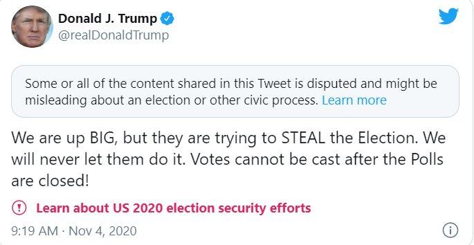 شکایت ترامپ و توئیت گمراه کننده اش بعد از جلو افتادن جو بایدن