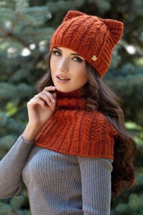 مدل شال و کلاه بافتنی دخترانه شیک و زیبا