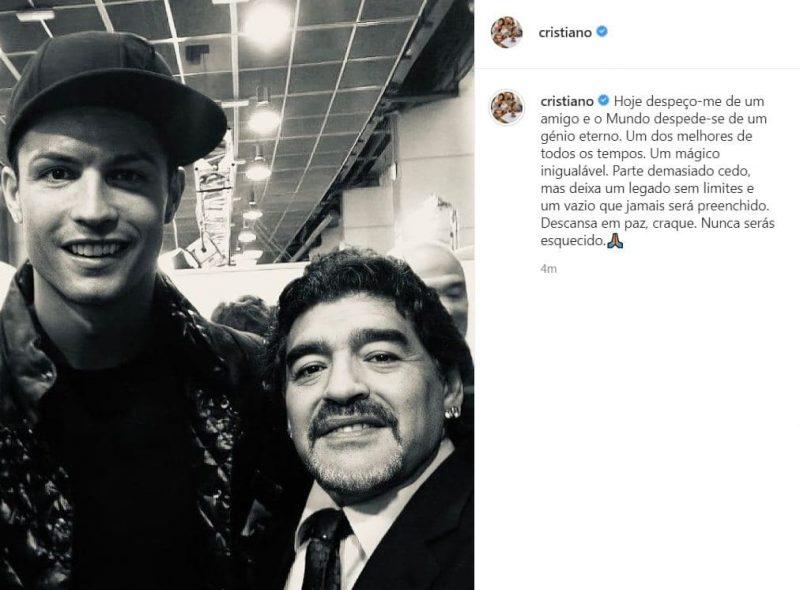 واکنش لیونل مسی و کریس رونالدو به درگذشت مارادونا ( عکس )