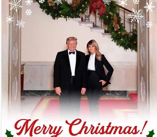 تیپ ترامپ و همسرش ملانیا در جشن کریسمس و تبریک سال 2021 میلادی ( عکس )