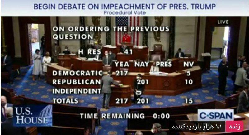 استیضاح ترامپ در مجلس آمریکا تصویب شد ( عکس )